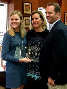 Emily Dunson and her parents, Ginny and Les Dunson.