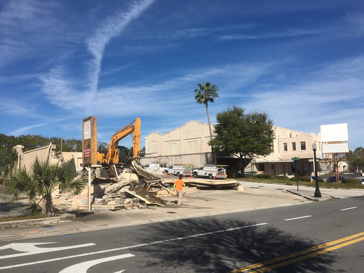 Foreground: The Lakeland Vacuum Cleaner building during renovations. Behind it: Lakeland Cash Feed, which will become Catapult 2.0.